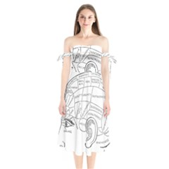Brain Chart Diagram Face Fringe Shoulder Tie Bardot Midi Dress