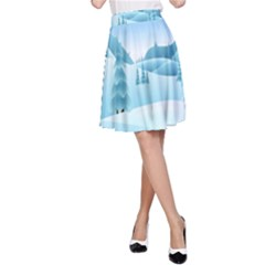 Landscape Winter Ice Cold Xmas A Line Skirt