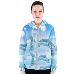 Landscape Winter Ice Cold Xmas Women s Zipper Hoodie