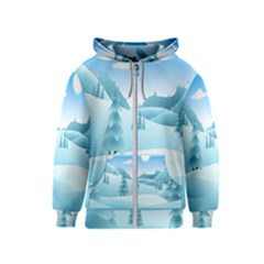 Landscape Winter Ice Cold Xmas Kids  Zipper Hoodie