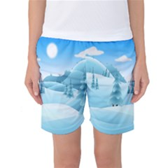 Landscape Winter Ice Cold Xmas Women s Basketball Shorts