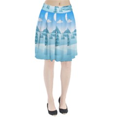 Landscape Winter Ice Cold Xmas Pleated Skirt