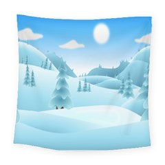 Landscape Winter Ice Cold Xmas Square Tapestry (large)