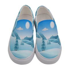 Landscape Winter Ice Cold Xmas Women s Canvas Slip Ons