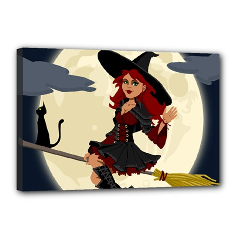 Witch Witchcraft Broomstick Broom Canvas 18  X 12