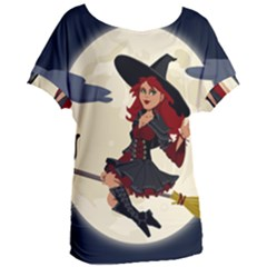 Witch Witchcraft Broomstick Broom Women s Oversized Tee