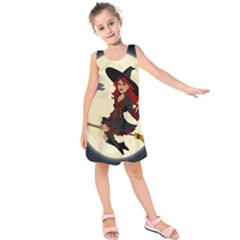 Witch Witchcraft Broomstick Broom Kids  Sleeveless Dress