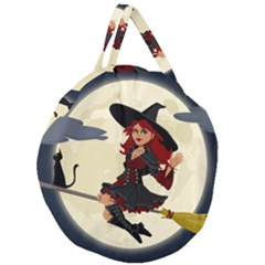 Witch Witchcraft Broomstick Broom Giant Round Zipper Tote