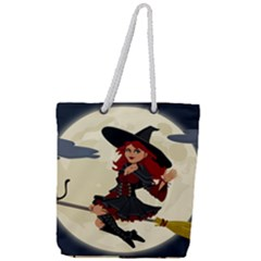 Witch Witchcraft Broomstick Broom Full Print Rope Handle Tote (large)