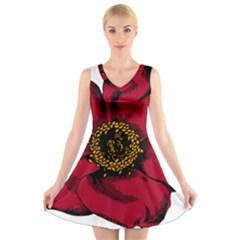 Floral Flower Petal Plant V Neck Sleeveless Skater Dress