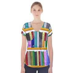 Shelf Books Library Reading Short Sleeve Front Detail Top