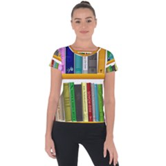 Shelf Books Library Reading Short Sleeve Sports Top
