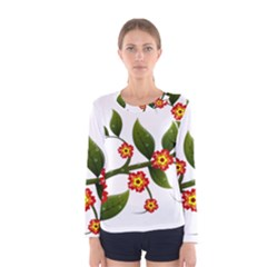 Flower Branch Nature Leaves Plant Women s Long Sleeve Tee