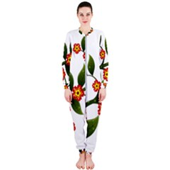 Flower Branch Nature Leaves Plant Onepiece Jumpsuit (ladies)