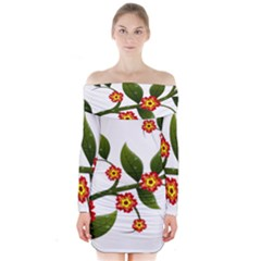 Flower Branch Nature Leaves Plant Long Sleeve Off Shoulder Dress