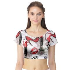 Cosmetic Pattern Short Sleeve Crop Top