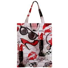 Cosmetic Pattern Zipper Classic Tote Bag