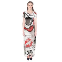 Cosmetic Pattern Short Sleeve Maxi Dress