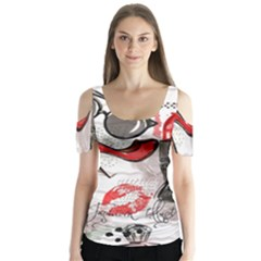 Cosmetic Pattern Butterfly Sleeve Cutout Tee