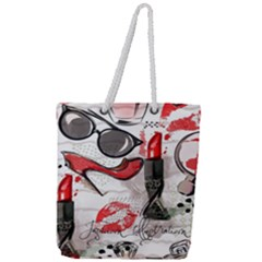 Cosmetic Pattern Full Print Rope Handle Tote (large)