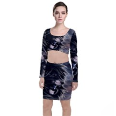 Angry Lion Digital Art Hd Long Sleeve Crop Top & Bodycon Skirt Set
