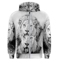 Lion Wildlife Art And Illustration Pencil Men s Zipper Hoodie