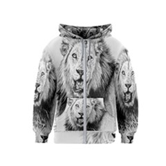 Lion Wildlife Art And Illustration Pencil Kids  Zipper Hoodie