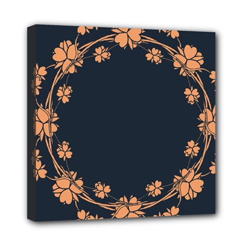 Floral Vintage Royal Frame Pattern Mini Canvas 8  X 8