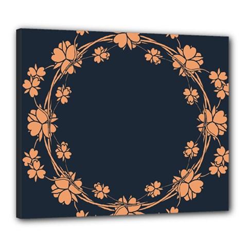 Floral Vintage Royal Frame Pattern Canvas 24  X 20