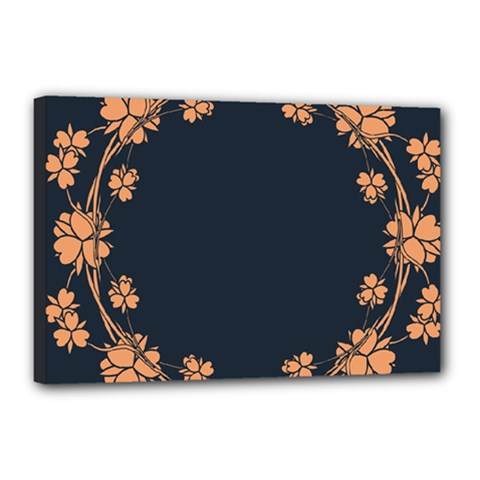 Floral Vintage Royal Frame Pattern Canvas 18  X 12