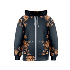 Floral Vintage Royal Frame Pattern Kids  Zipper Hoodie