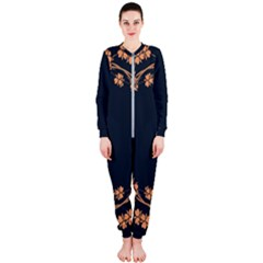 Floral Vintage Royal Frame Pattern Onepiece Jumpsuit (ladies)