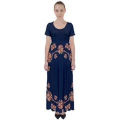 Floral Vintage Royal Frame Pattern High Waist Short Sleeve Maxi Dress