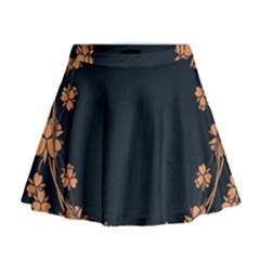 Floral Vintage Royal Frame Pattern Mini Flare Skirt