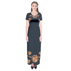 Floral Vintage Royal Frame Pattern Short Sleeve Maxi Dress