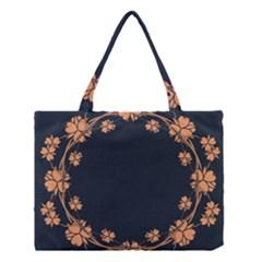 Floral Vintage Royal Frame Pattern Medium Tote Bag