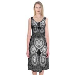 Fractal Filigree Lace Vintage Midi Sleeveless Dress
