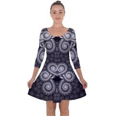 Fractal Filigree Lace Vintage Quarter Sleeve Skater Dress