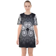 Fractal Filigree Lace Vintage Sixties Short Sleeve Mini Dress
