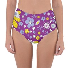 Floral Flowers Reversible High Waist Bikini Bottoms