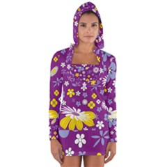 Floral Flowers Long Sleeve Hooded T Shirt