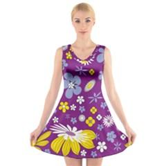 Floral Flowers V Neck Sleeveless Skater Dress
