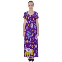 Floral Flowers High Waist Short Sleeve Maxi Dress