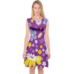Floral Flowers Capsleeve Midi Dress