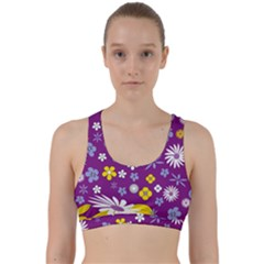 Floral Flowers Back Weave Sports Bra