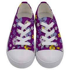 Floral Flowers Kids  Low Top Canvas Sneakers