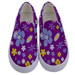 Floral Flowers Kids  Canvas Slip Ons