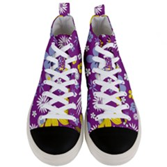 Floral Flowers Men s Mid Top Canvas Sneakers