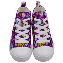 Floral Flowers Kid s Mid Top Canvas Sneakers