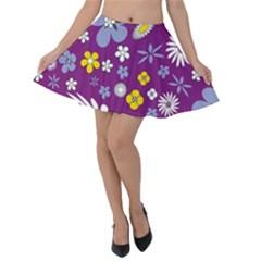 Floral Flowers Velvet Skater Skirt